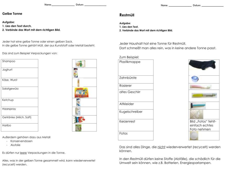 Mülltrennung - Papier, Verpackung, Restmüll