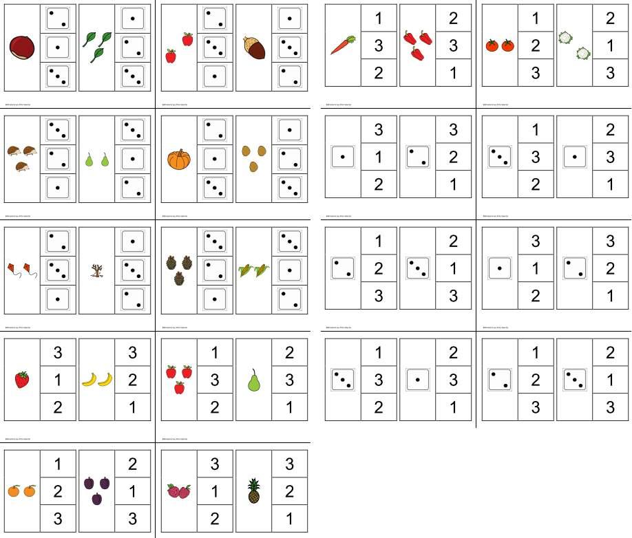 Klammerkarten - Mengen - Würfelbilder - Zahlen 1-3