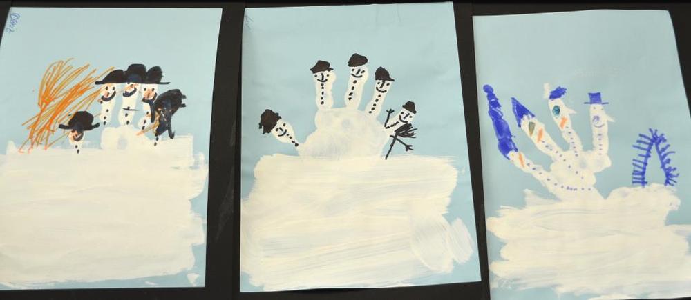 Schneemänner aus Handabdruck