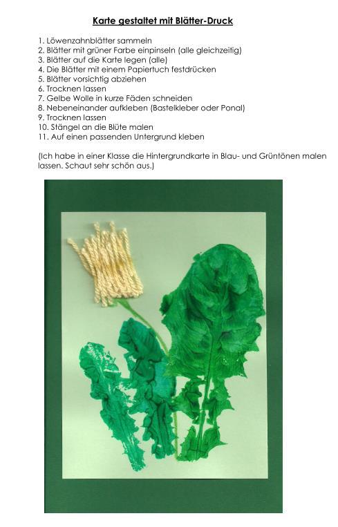 Karte im Löwenzahn-Blätter-Druck