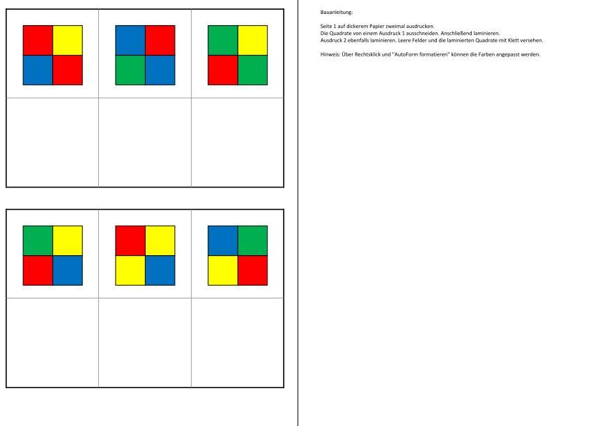 Aufgabenmappe - Farbkombinationen zuordnen