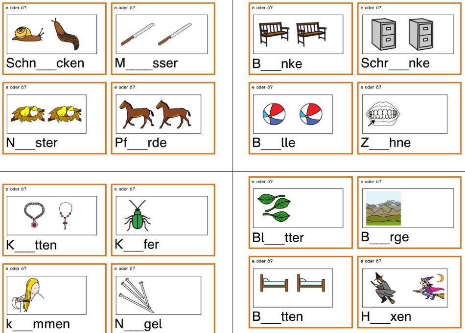 Karten zur Rechtschreibung