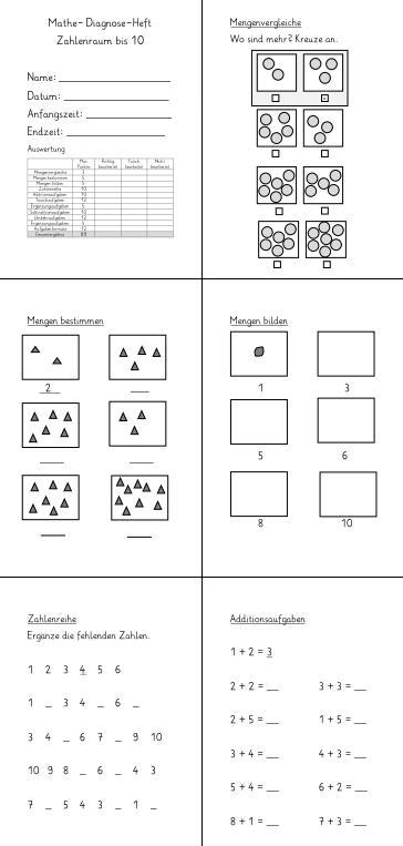 Diagnose-Heft - Zahlenraum bis 10