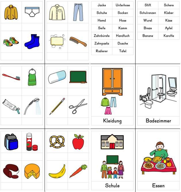 Wortfelder Kleidung, Badezimmer, Schule, Essen