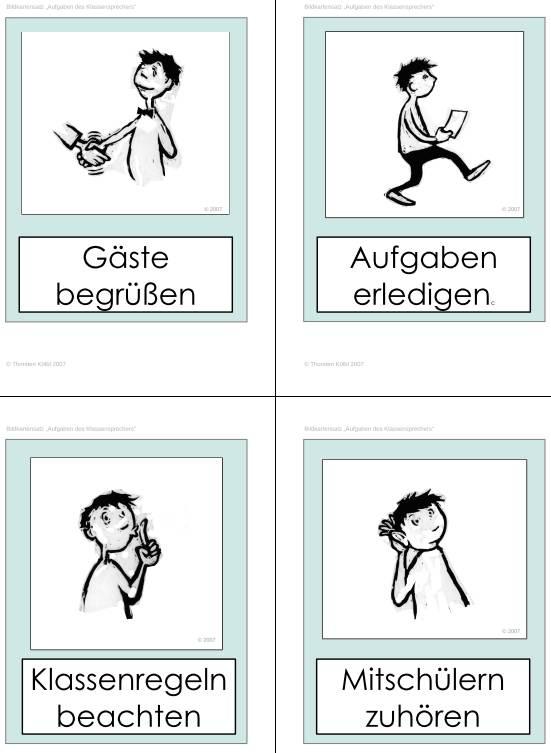 Bildkartensatz - Aufgaben des Klassensprechers