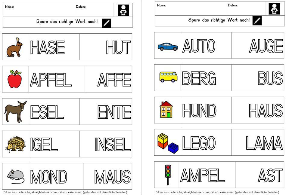 Wörter lesen und nachspuren in Großbuchstaben