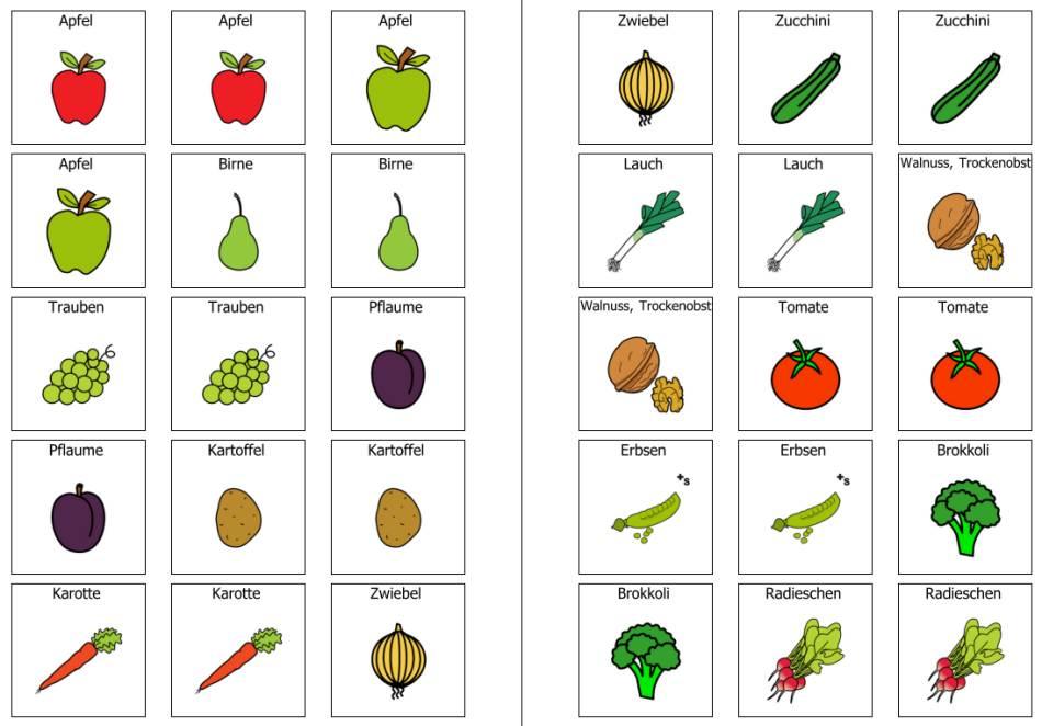 Herbstliches Obst und Gemüse Memorie
