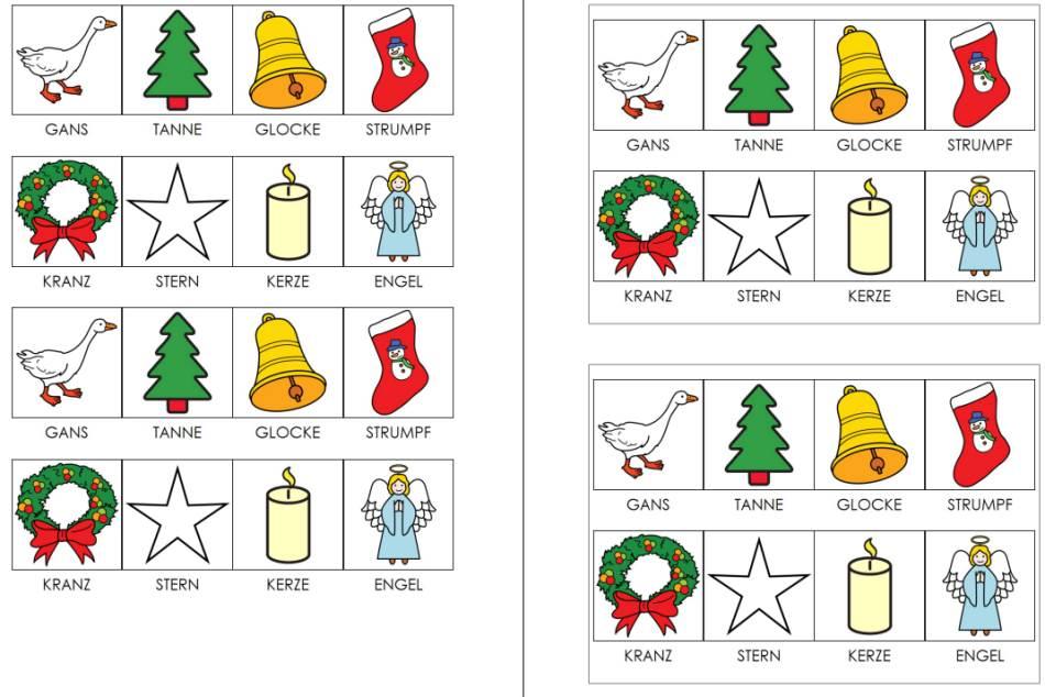 Weihnachtsbilder - Lotto oder Memorie