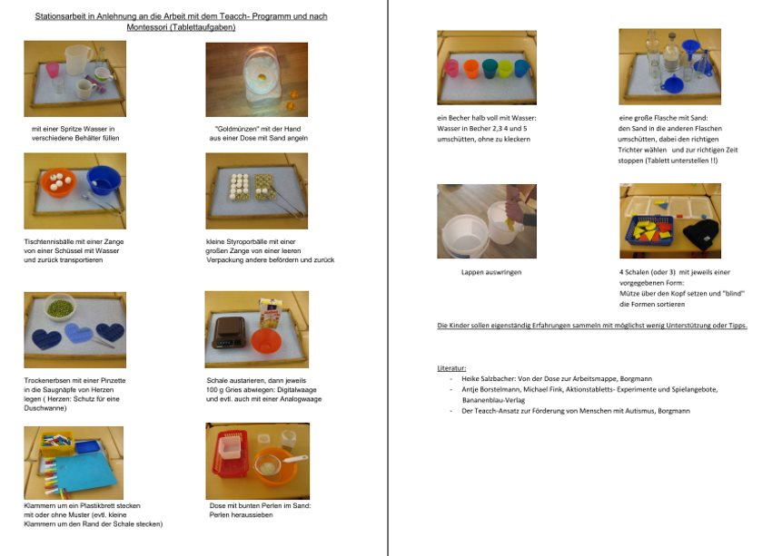 Stationsaufgaben nach Teacch und Montessori