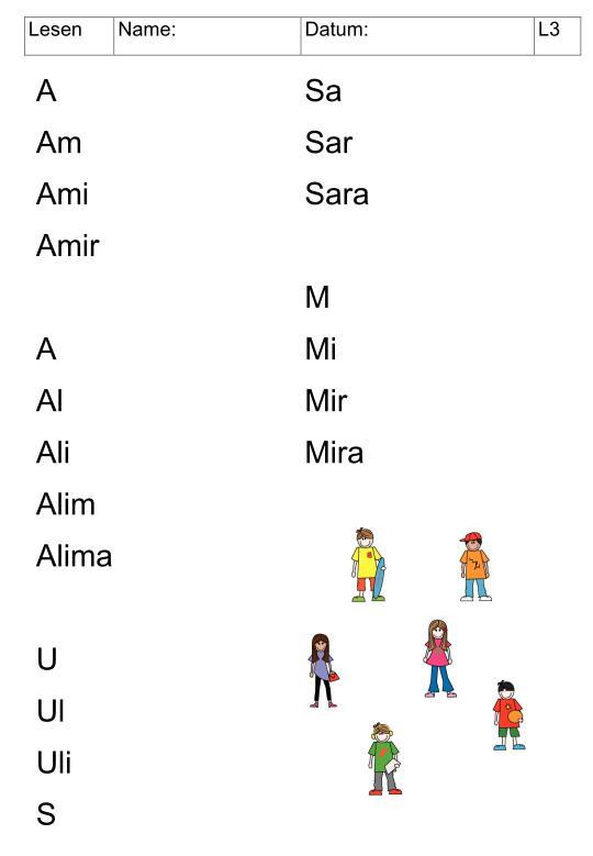 Leseübungen mit einfachen Namen