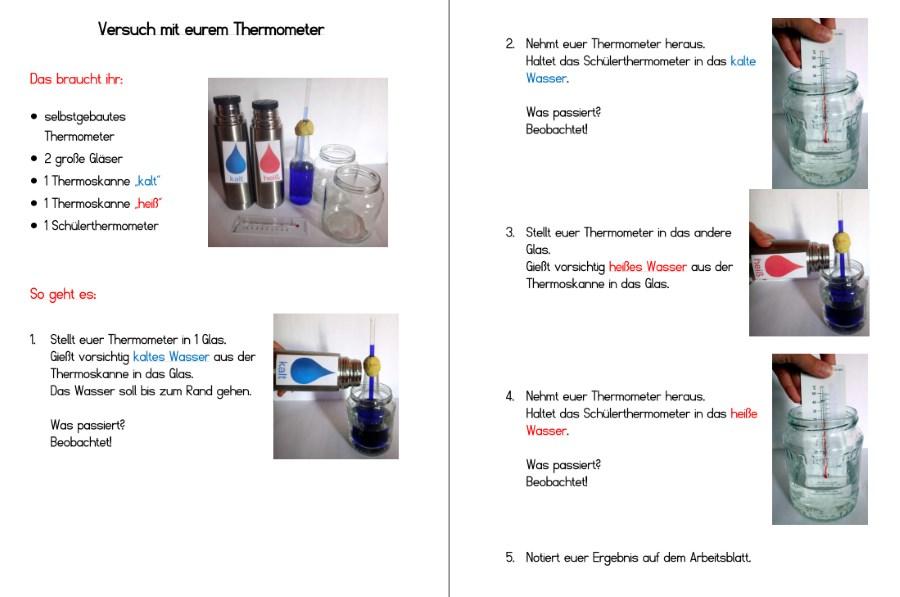 Versuchsanleitung mit einem selbstgebauten Thermometer - Temperaturmessung