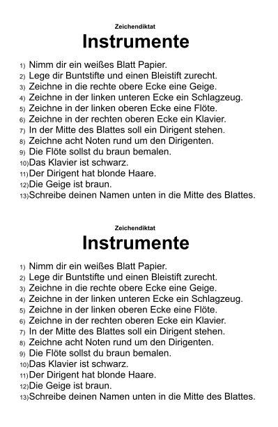 Zeichendiktat - Instrumente