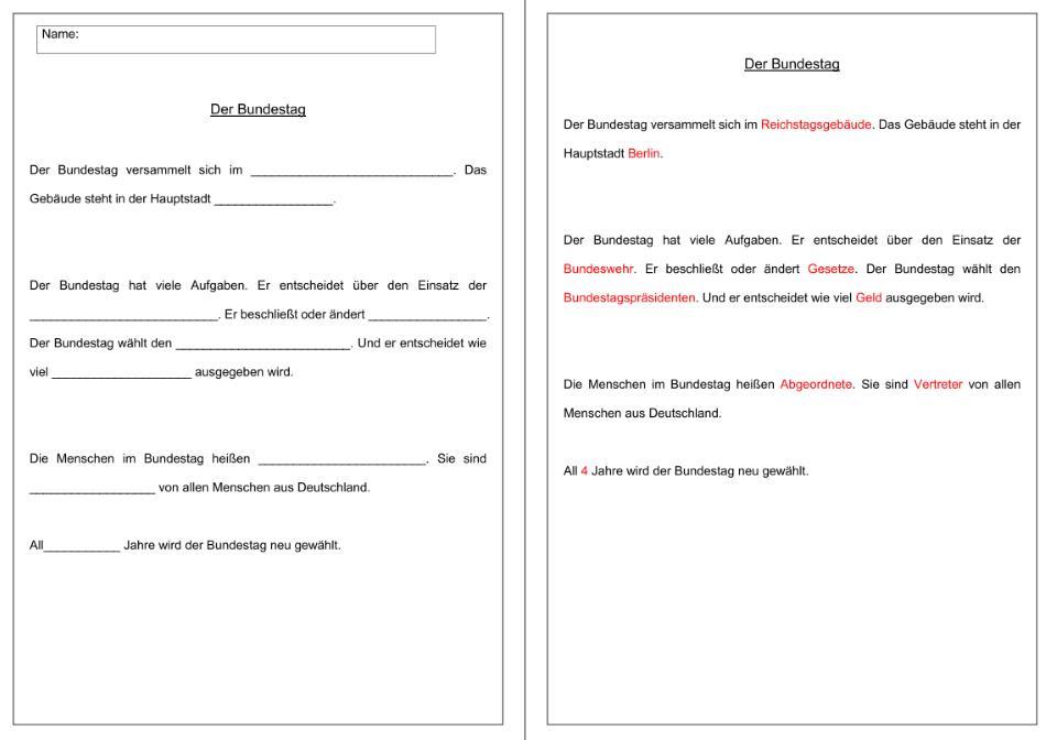 Lückentext - Bundestag