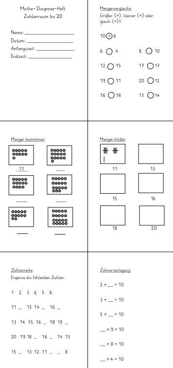 Diagnose-Heft - Zahlenraum bis 20