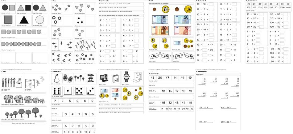 Informeller Prüfungsbogen zur Überprüfung der Mathematischen Kenntnisse