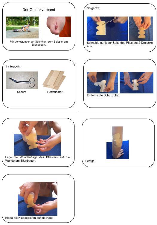 Bebilderte Anleitung für einen Gelenkverband