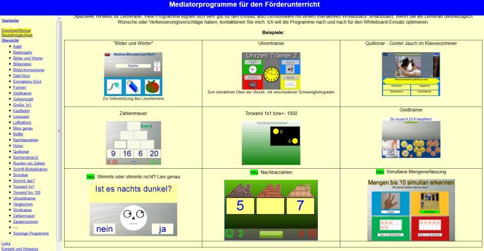Mediator Programme zu verschiedenen Lernbereichen