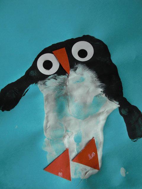 Pinguin aus Handabdruck