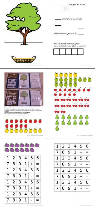 Aufgabenmappe - Subtraktion mit Fruchtbaum