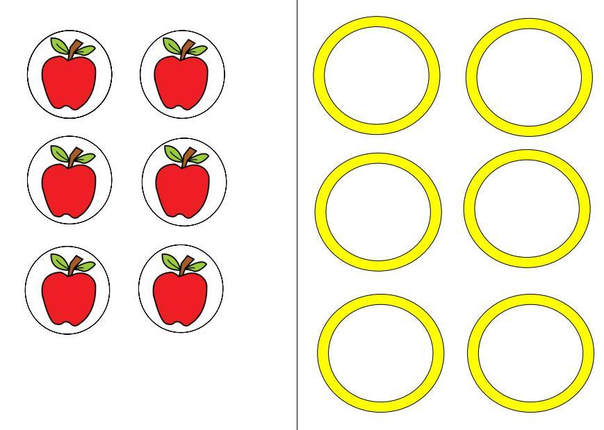 Aufgabenmappe 1:1-Zuordnung Apfel auf Teller