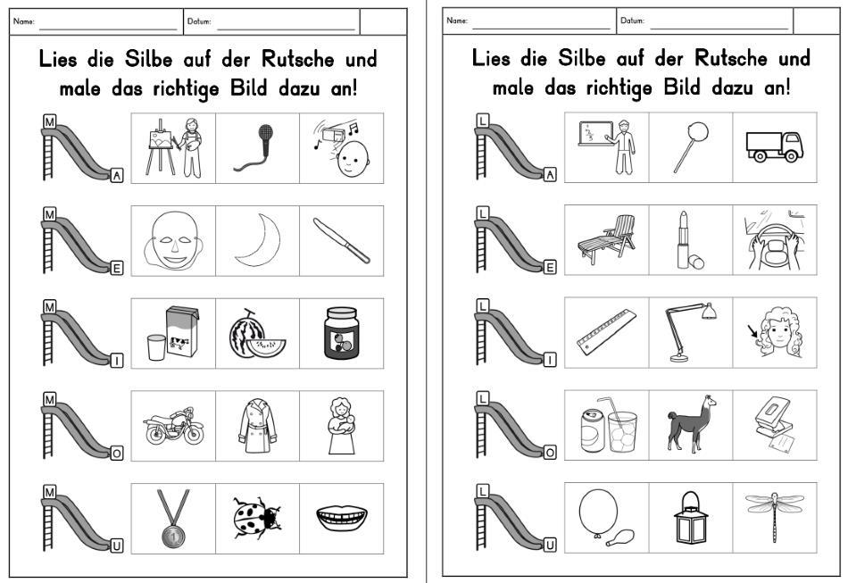 Silbenrutsche - erweiterbare Arbeitsblätter
