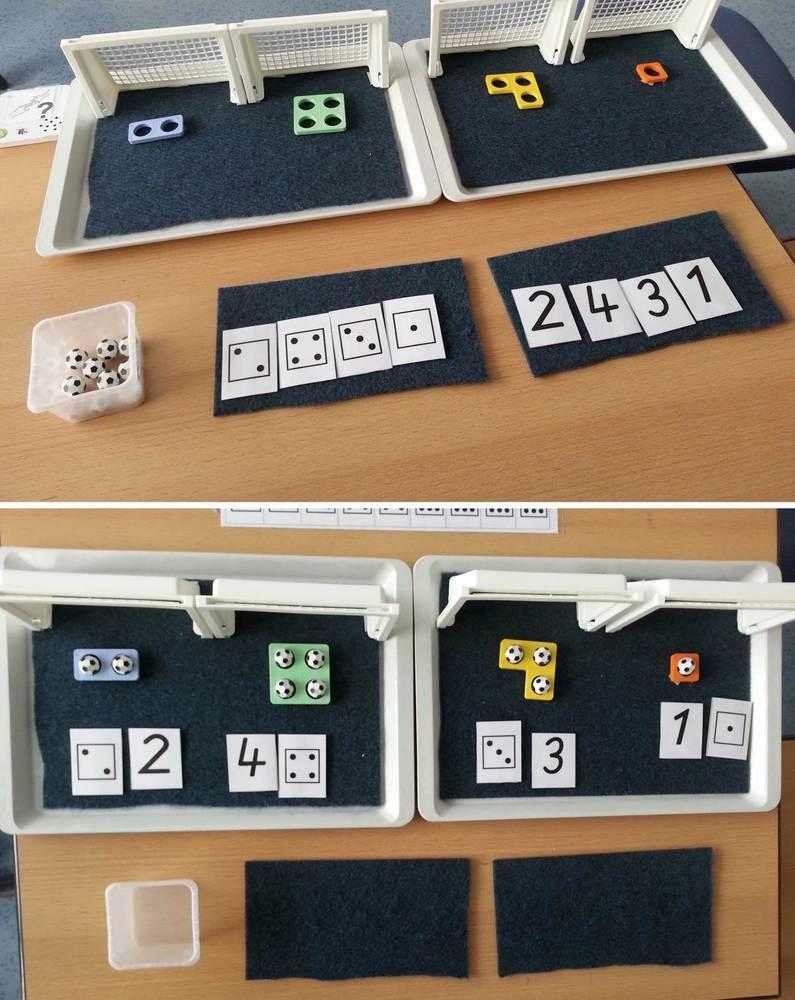 Tablett-Aufgabe - Mathe - Menge - Zahl zuordnen
