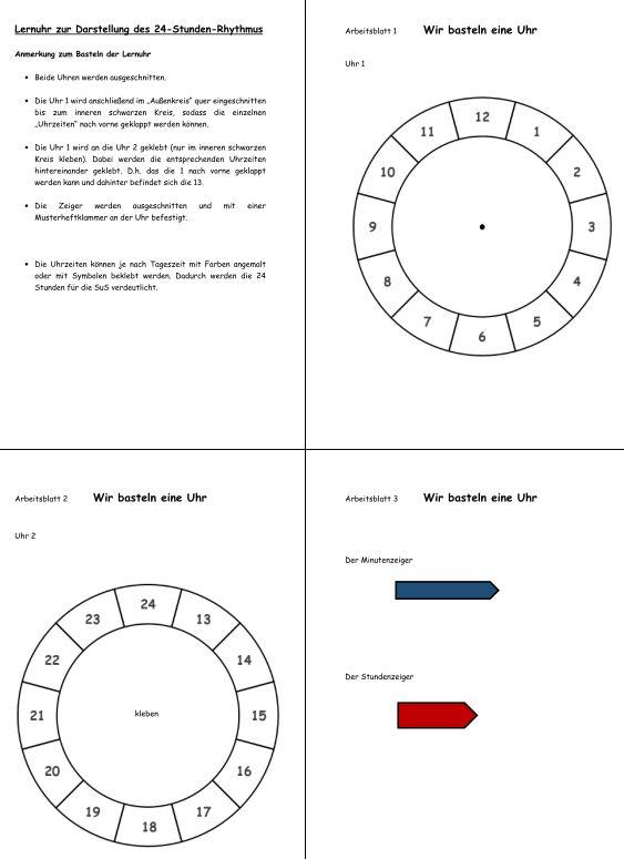 Lernuhr zur Darstellung des 24-Stunden-Rhythmus