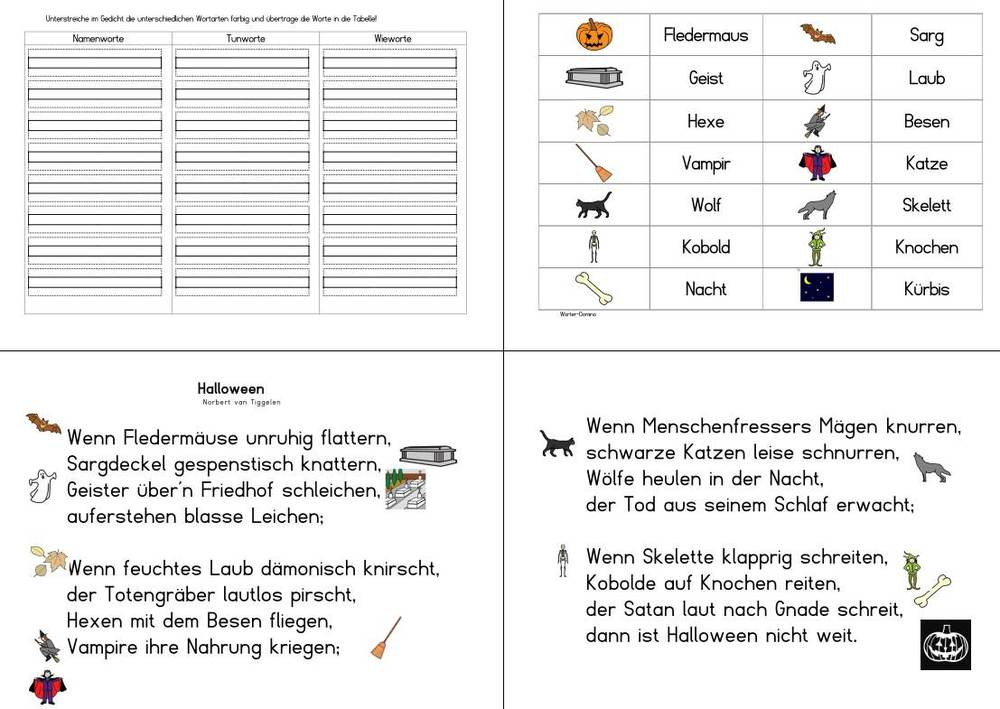 Gedicht-Mappe - Halloween - Norbert van Tiggelen