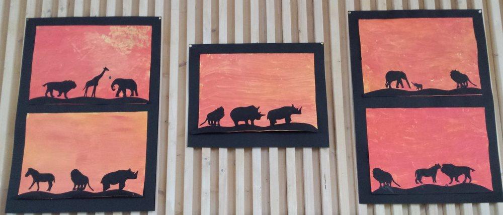 Scherenschnitt - Tiere in Afrika - Scherenschnitt