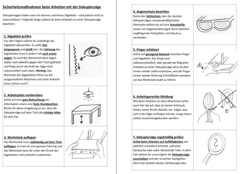 Sicherheitsregeln für die Arbeit an der Dekupiersäge