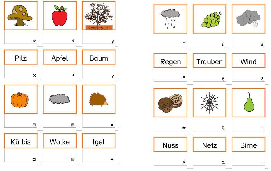 Herbst - Wort - Bild - Karten für die Setzleiste - 1-2-silbige Wörter