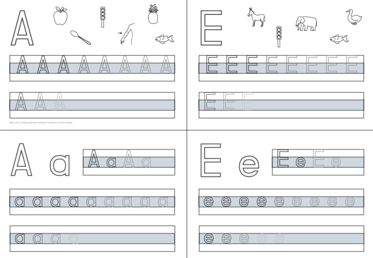 Schreibkartei zu einigen Buchstaben