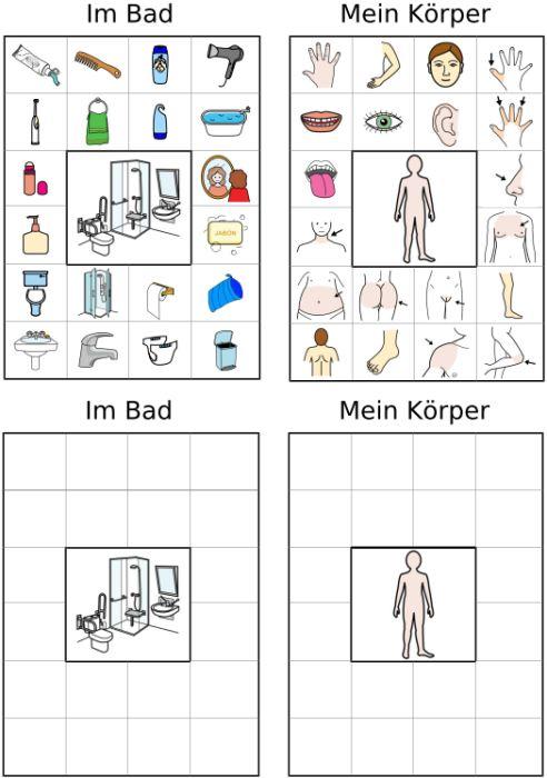 Bildkärtchen zur Sprachförderung - Im Bad und Mein Körper