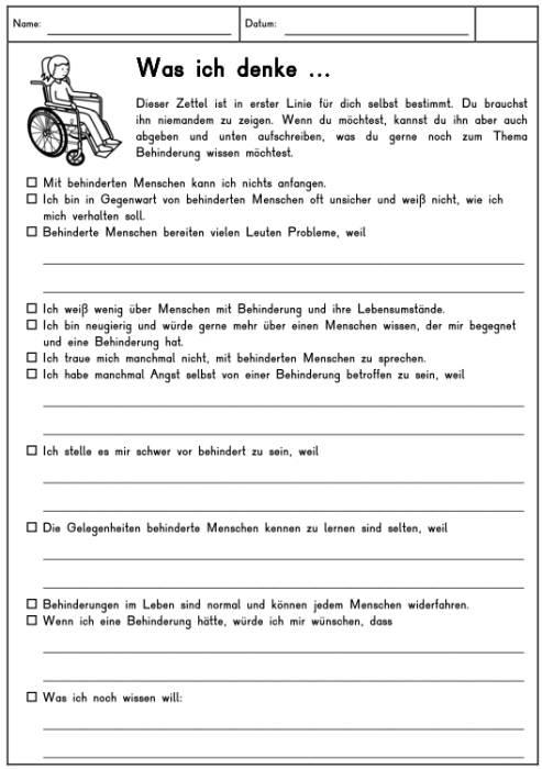 Fragebogen - Was denke ich über Behinderung?