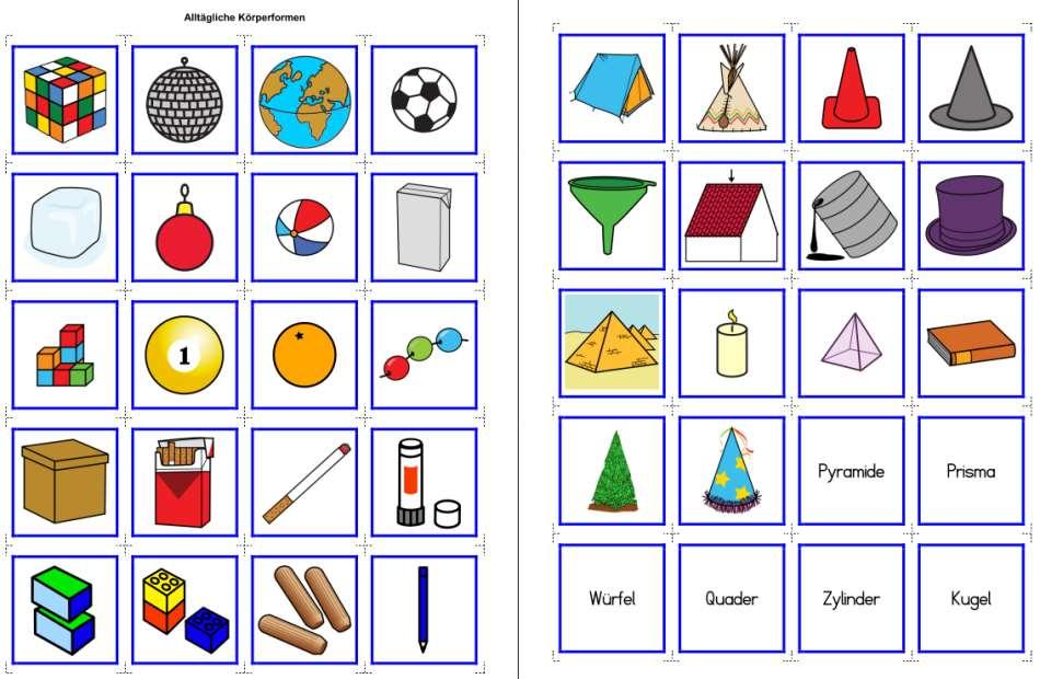 Materialien zum Thema mathematische Körper - Würfel, Quader, Kegel