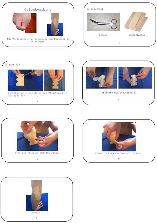 Bildanleitung für einen Gelenkverband