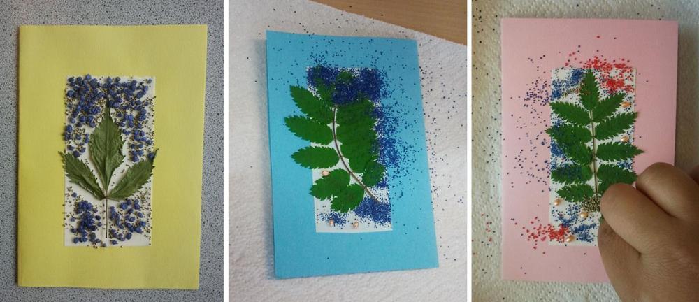 Karten aus gepressten Blättern
