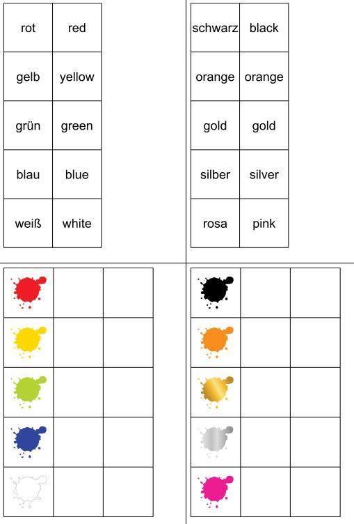 Aufgabenmappe - Farben zuordnen - Englisch-Deutsch
