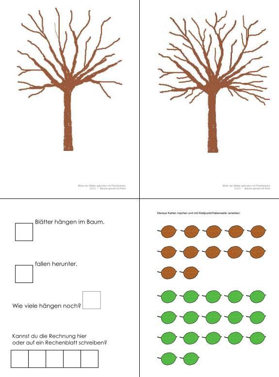 Aufgabenmappe - Subtraktion mit Laubbaum