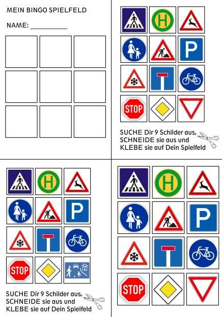 Verkehrszeichen Bingo - geometrische Grundformen