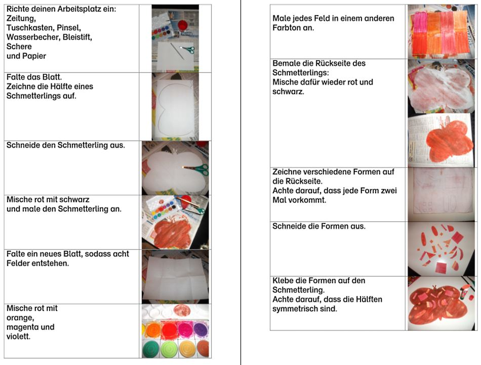 Fotoanleitung - Schmetterling - Thema Mischen mit Farbkasten