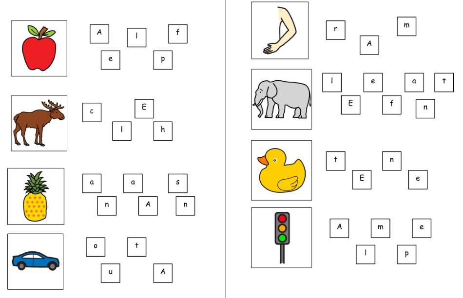 Buchstabensalat - Wörter mit E und A