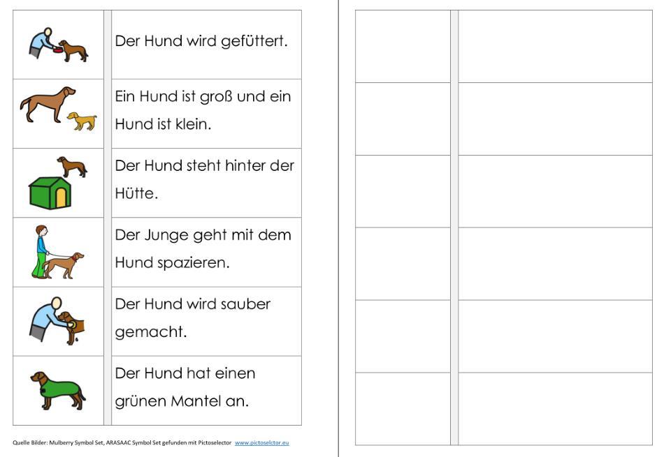 Aufgabenmappe - Sätze lesen - Hund