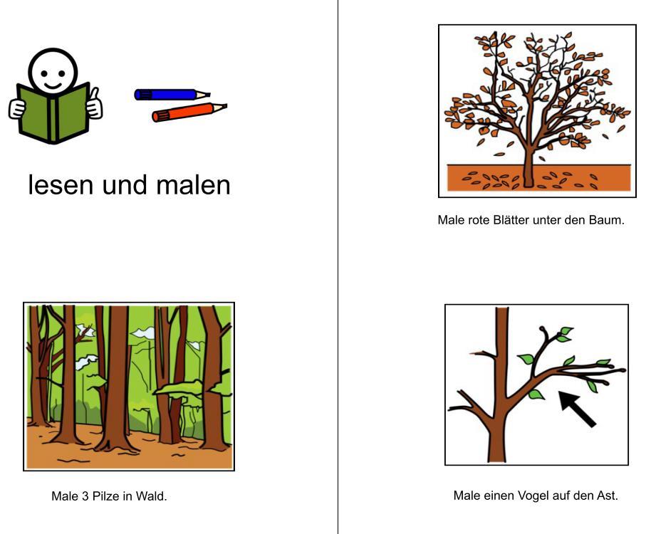 Lesen und malen - Thema Wald