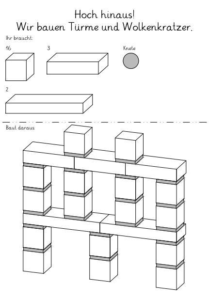 Baupläne für Türme aus Bausteinen und Knete