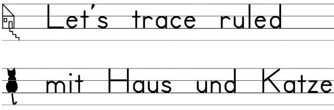 Druckschrift mit Lineatur - Let's trace ruled