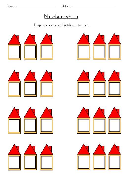 Nachbarzahlen in Häuser eintragen