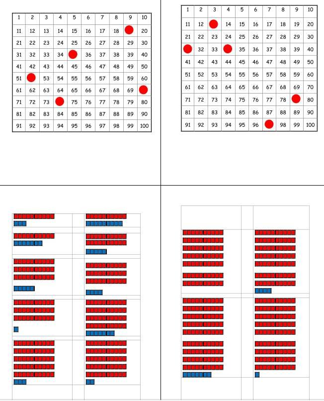 Hunderterfeld - Zahlen finden - Zahldarstellung Zehner und Einer erkennen