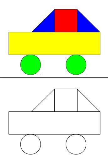 1-zu-1-Zuordnung der Formen Kreis, Dreieck, Viereck