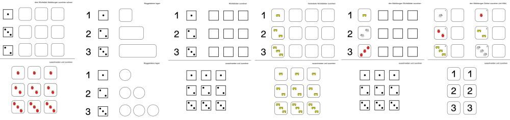 Klettmaterial für den Zahlenraum bis 3